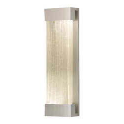Fine Art Lamps - Crystal Bakehouse Clear Crystal Sconce, 811050-23ST - Rugged yet refined, this handsome wall sconce can be used indoors or out. The sleek bracket supports a hand-crafted block of crystal shards, which emit a soft, serene glow from the CFL bulbs secured at either end.