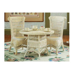 Spice Island Wicker - 3-Pc Child Tea Set (White/Off-White) - Includes table and two chairs. Victorian style. Made from wicker. Chair: 15 in. W x 15 in. D x 25 in. H. Table: 23 in. Dia. x 18 in. H (30 lbs.)