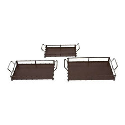Benzara - Set of 3 Square Metal Trays - Set of 3 square metal trays. Introducing an unique Set of 3 metal square-shaped trays. Some assembly may be required.
