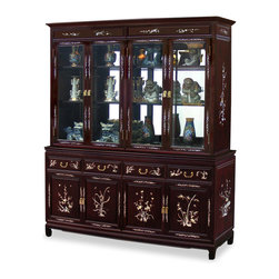 China Furniture and Arts - 72in Rosewood Mother of Pearl Inlay China Cabinet - Made of solid rosewood with hand-inlaid decorative mother of pearl and constructed with traditional mortise-and-tenon joinery to interlock with perfect fit, this grand curio cabinet serves as a functional piece of art to display your treasured collectibles. In addition, hand- applied dark cherry finish enhances the beauty of the pearl inlaid. The top hutch includes mirrored back, halogen lights, and adjustable glass shelves. The lower portion includes four drawers and two big cabinets with removable selves inside for your storage convenience.