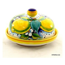 Artistica - Hand Made in Italy - Limoni: Round Butter Dish with Cover - Limoni Collection