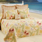 C & F Enterprises, Inc. - Fiji Bedspread - Create a tropical getaway in your home with this island-inspired quilted bedspread. Swaying palm fronds and colorful florals liven up any room and turn your surroundings into an instant retreat.