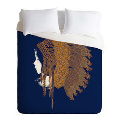 Modern Warrior Duvet Cover - With its proverbial feet planted firmly in Native American inspiration, this Modern Warrior Duvet Cover is a stunning choice. Shown in profile, a modern warrior dons a traditional headdress. The tricolor scene possesses a bold richness that adds interest and dimension that perks up a stale bedroom. Fashioned with a hidden zipper closure, this duvet cover is machine washable for easy use.