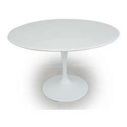 "Kardiel Tulip Style Round Table White Fiberglass, 48″ Diameter - Does it get any more ""Eero Saarinen"" than the Tulip Chair and Table series? It should come as no surprise that an artists work is their signature. Comparing the tulip table and chairs, created in 1964/65 respectively, it is not difficult to see the relationship to Eero's other furniture pieces. A similar styling can be found in Eero Aarnio' ball chair. Not only did they share the same first name but a similar design flair. While available in many colors today, the original Tulip chair exclusively featured red wool fabric cushions. The chairs feature pure solid white molded fiberglass shells that rest on a aluminum cast base. Smooth with a gloss sheen and seamless appearing in design. The Tulip Chair went on to star in none other than Gene Rodenberry's Star Trek between 1966 and 1969. The bridge chairs were tulip chairs, with a slight modification. After the series ended, a few were salvaged. One recently auctioned for more than $18,000."