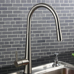 Opula Pull-Out Spray Kitchen Faucet Brushed Nickel - Update the look of your kitchen with this modern style faucet. Opula kitchen faucet blends quality and durability with elegance and style that is sure to coordinate with any decor. Solid brass construction which ensures durability and longer life. Unique finishing process resists corrosion and tarnishing, exceeding industry durability standards. Spout swivels 360-degrees for greater reach.