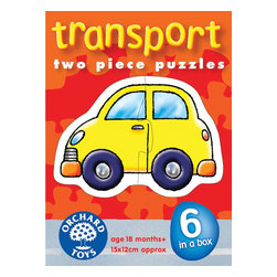 """The Original Toy Company - The Original Toy Company Kids Children Play Transport - 6 bright and colorful transport puzzles. Ages 18 months plus. Puzzle Size- 6""""x 4.75"""" 2 piece puzzles. Made in England."""