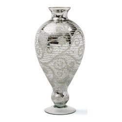Mantle Urn - This Mantle Urn is an artistic design that compliments any home decor. This beautiful glass made urn possess Antiqued Etched Silver finish to provide a graceful effect on the onlookers.
