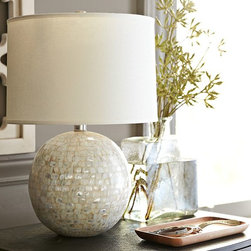 Jolie Mother-of-Pearl Round Lamp Base - The luster of this mother-of-pearl lamp gives a gorgeous and elegant look to a vanity filled with metallic accessories.
