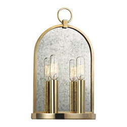"Hudson Valley - Hudson Valley Lowell 13 3/4"" High 2-Light Aged Brass Sconce - Smooth lines and a smoky mirror back plate add a vintage touch to this two-light wall sconce. Bathe your walls in glamorous illumination with this two-light wall sconce. Pairing antique inspiration with clean, smooth lines and detailing, this design features a smoky mirrored back plate surrounded by a rich aged brass finish frame. From the Lowell Collection by Hudson Valley Lighting."
