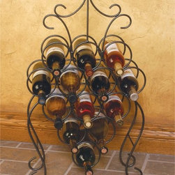 """J & J Wire Victorian Wine Rack - For a witty way to display your wine try the bunch-of-grapes-shaped J & J Wire Victorian Wine Rack. This clever wine rack stacks 13 bottles of wine in a grape-like configuration then adds a curly """"""""vine"""""""" topper that doubles as a handle. Proudly made in the USA from wrought iron with a dark pewter powder-coat finish this freestanding unit is a fun yet functional work of art. About J & J Wire Inc.Located at the Industrial Park in Beatrice Nebraska J & J Wire Inc. started 25 years ago as a wire-forming business manufacturing mostly houseware items. Since then the company has grown into a metal fabrication business serving customers in many different manufacturing sectors in the United States and Canada. From quilt racks to wine racks J & J Wire is committed to creating handmade works of art at affordable prices."""