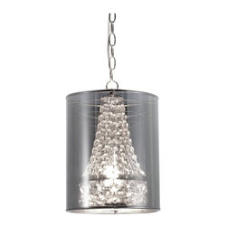 Zuo - Zuo Byrion Ceiling Lamp, Translucent - Glamour and elegance is all bundled into one smashing ceiling lamp. The Byrion ceiling lamp boasts strung crystals shielded by a metallic shade. The base is chrome. The lamp is UL approved.Mirror Mylar, Chrome. E12 Type B 1x max.60W. UL LISTED, BULB NOT INCLUDED.Max Bulb Wattage: 60WBulbs Included: 0Cord Length: 17.7Product Dimensions (W x D x H): 9.8 x 9.8 x 29.9