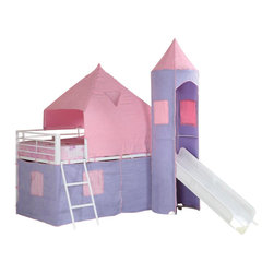 Coaster - Coaster Bunks Twin Loft Bed Tent in Pink and Purple - Coaster - Bunk Bed Sets - 460279 - Majestic and fun this castle styled twin loft bed is the dream  space for any little girls room. Featuring an included ladder and slide  with colorful pink and purple tent-style wrappings this smart piece is  a great addition to the youth room in your home. Make all her dreams  come true with this sweet loft bed.Features: