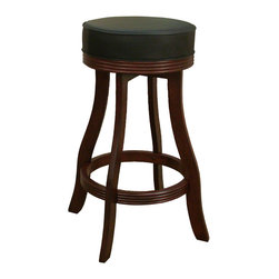"American Heritage - American Heritage Designer Bar Stool in English Tudor w/ Black Vinyl - Bar Stool in English Tudor w/ Black Vinyl belongs to Designer Collection by American Heritage This contemporary classic is sure to enhance any room.  The sleek profile of the wooden legs accented with the fluted apron is sure to compliment your trendy décor.  The 3"" black vinyl seat cushion is sure to have your guest sitting for hours.  Barstool (1)"