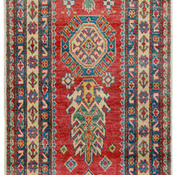 "ALRUG - Handmade Red Oriental Kazak Runner 2' 7"" x 10' 6"" (ft) - This Afghan Kazak design rug is hand-knotted with Wool on Cotton."
