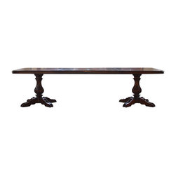 """Used Vintage Drexel Heritage Marchesa Dining Table - This vintage Drexel Heritage Marchesa Collection dining table is fit for a king! This massive table extends from a 70"""" to 136"""" with all three leaves, and has a double pedestal design that can seat up to 18. This rare and impressive Drexel product cost approximately $10k brand new; it's in good condition with minor chips and scratches.     Dimensions: 70""""w x 44""""d x 29""""h (3 leaves 22"""" total 136""""). As pictured, it only includes 2 of the 3 leaves."""