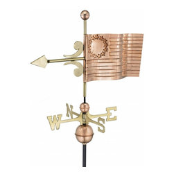 G.D. - Good Directions US Flag Weather Vane - Polished Copper - Reputed to be sewn by Betsy Ross during the American Revolution, our new nation's first flag was designed with 13 stars to represent the original 13 colonies. Now it's ready to proudly wave over the rooftop of your house, barn, garage, or cupola. Our Good Directions' artisans use Old World techniques to handcraft this fully functional, standard-size weathervane that's unsurpassed in style, quality and durability. A great gift for enthusiasts of Americana!