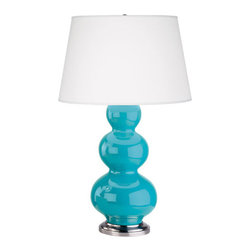 Robert Abbey - Robert Abbey Large Triple Gourd Table Lamp with Antique Silver Base 362X - Egg Blue Glazed Ceramic