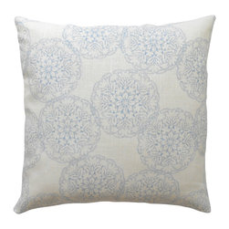 Light Blue Ikat Medallion Decorative Pillow Cover - One decorative pillow cover made to fit a size 18x18 insert. Made with light blue and ivory linen print fabric by John Robshaw. Pattern will be featured on both the front and back sides and is finished with a concealed bottom zipper. Pillow insert is not included.