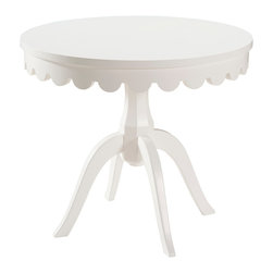 Belle Meade - Lucien Occasional Table - This classically shaped occasional table has been updated in a crisp, white finish and scalloped apron.  Made of Asian hardwood solids and birch veneer top.  This could also double as a breakfast table in a tight space.