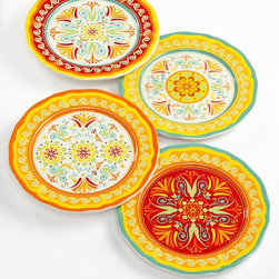 EuroCeramica Dinnerware, Set of Egyptian Salad Plates - Introduce new colors to your room with a collection of colorful plates on the wall. These Egyptian salad plates from Macy's will make instant art when displayed.