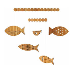 Petit Collage School of Fish Classic Bamboo Mobile - School of Fish - Classic Bamboo Mobile