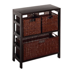 Winsomewood - Leo 4 PC Shelf with 3 Baskets; Shelf with One Large & 2 Small Baskets; 2 Cartons - Two sections Wide Shelf with large storage basket & two small storage baskets. Elegance yet functional. Mix and match with the other Espresso storage shelves. (92326+92323) Total of 2 boxes. Carton size of shelf