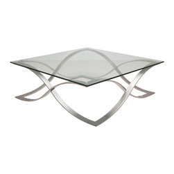 Nuevo Living - Orchid Coffee Table - One of the best ways to open up a room is with a glass-topped table. You will love how the light shines through the tempered glass and reflects off the soft curves of the stainless steel base. It's the perfect place to rest your morning coffee or evening cocktail.