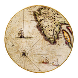 "Nautical Map Plate - The nautical map plate measures 12"" x 12"". It is made of porcelain. It will add a definite nautical touch to wherever it is placed and is a must have for those who appreciate high quality nautical decor. It makes a great gift, impressive decoration and will be admired by all those who love the sea."