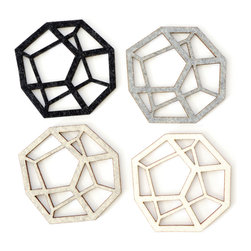 Molly M - Pentahedron Coasters - Set of four handmade felt coasters.  Pentahedron pattern in natural colorway.