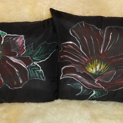 Silk pillows shams, hand painted - Two hand painted pillows shams. Red flowers, green leaves and white outline painted on black silk.