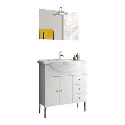 ACF - 32 Inch Glossy White Bathroom Vanity Set - This Italian-made bathroom vanity set features a waterproof panel made of engineered wood in a beautiful glossy white finish.