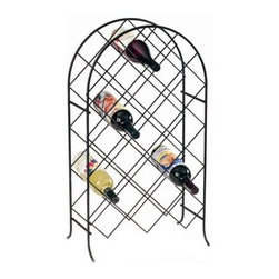Spectrum Trellis 21-Bottle Floor Standing Wine Rack - Give your best wines the presentation they deserve with the Spectrum Trellis 21-Bottle Floor Standing Wine Rack. It's an ideal choice if your counter space is limited but you don't want to hide your fine wines away. With a classic black frame this durable wrought iron design with an arching silhouette is ideal for any larger wine collection. It holds up to 21 standard-sized bottles of wine in diamond-shaped openings for easy visibility and access.