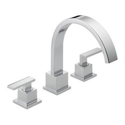 "Delta - Delta T2753 Chrome Vero Vero Roman Tub Faucet Trim - Product Features:  Fully covered under Delta s limited lifetime warranty All-brass faucet construction Superior finishing process - faucet finish covered under lifetime warranty Inspired by slim lines and graceful arc of a ribbon, the Vero bath collection offers a high-end, modern look to the bath With a full suite of products, including accessories, Vero makes a fully coordinated bath effortless Double handle 1/4 turn operation ADA compliant Extra secure mounting assembly All necessary mounting hardware included  Product Specifications:  Overall Height: 9-15/16"" (measured from mounting deck to highest point of faucet) Spout height: 5-31/32"" (measured from mounting deck to faucet outlet) Spout reach: 8-3/4"" (measured from center of faucet base to center of faucet outlet) 18 gallons-per-minute flow rate Installs onto decks up to 1-1/4"" thick 2 handles included Rough-in valve not included (when adding to cart, valve will be offered)  Variations:  T2753: this model T4753: this model + hand shower  About Delta: Delta is more than just a brand of kitchen and bathroom faucets. It's a name that represents what's possible in today's plumbing technologies. Every kitchen and bathroom in every home is unique, and with a wide range of pricing and features, Delta faucets and fixtures can meet every need. Delta is driven by its quest for innovation—and this applies to its kitchen and bathroom faucets and fixtures. From Touch2O technology (which turns the faucet on and off with just a touch) and MagnaTite technology (which eliminates droopy pull-down spray heads), to H2Okinetic showers (for a warmer and mo"