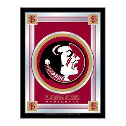"Holland Bar Stool - Holland Bar Stool Florida State (Head) Logo Mirror - Florida State (Head) Logo Mirror belongs to College Collection by Holland Bar Stool The perfect way to show your school pride, our logo mirror displays your school's symbols with a style that fits any setting.  With it's simple but elegant design, colors burst through the 1/8"" thick glass and are highlighted by the mirrored accents.  Framed with a black, 1 1/4 wrapped wood frame with saw tooth hangers, this 17""(W) x 22""(H) mirror is ideal for your office, garage, or any room of the house.  Whether purchasing as a gift for a recent grad, sports superfan, or for yourself, you can take satisfaction knowing you're buying a mirror that is proudly Made in the USA by Holland Bar Stool Company, Holland, MI.   Mirror (1)"