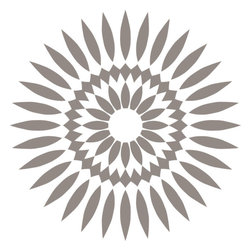 Odhams Press - Sunflower Taupe RETile Decal, Clear Background - RETile decals can be used to accent or transform your existing ceramic, stone or glass tiles. They are easy to apply and can be removed in the future without leaving a sticky residue.