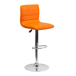 Flash Furniture - Flash Furniture Contemporary Orange Vinyl Adjustable Height Bar Stool - This modern bar stool is upholstered in a durable vinyl upholstery and adjusts from counter to bar height. This armless design is gracefully contoured for your comfort. The height adjustable swivel seat adjusts from counter to bar height with the handle located below the seat. The chrome footrest supports your feet while also providing a contemporary chic design.