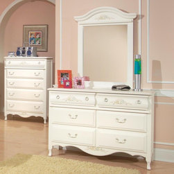 American Woodcrafters - Summerset Double Dresser Multicolor - AWR406 - Shop for Dressers from Hayneedle.com! The Summerset Double Dresser with Optional Mirror has a shabby chic look to it yet it is reminiscent of French country decor. This feminine dresser has a fresh white finish with light translucent distressing. The top two drawers are decoratively rounded and feature a floral motif in pastel greens blues yellows and soft reds with amber petals. This floral painting is repeated on the bottom center panel of the dresser as well as on the decorative top of the mirror. She'll find the six drawers handy for storing away all her clothes.Additional features of the Summerset Double Dresser include:Solid wood and wood veneer constructionTops and end panels are framed with pine solids and pine veneer panelsFeature decorative shaped feetTop drawer is curved and features a floral motifAntique brass finish ring pulls swinging bails and delicate rosette back platesTenon-and-mortise constructionDrawers are dovetailed front and backSolid wood drawer sides and backsVeneer drawer bottomsDrawer fronts are reconstituted MDF wood fibersCenter guided drawers metal to metal plastic to plastic with positive drawer stopsAll drawers are 14.5-inches front to backMirror features beveled glass and mirror supports