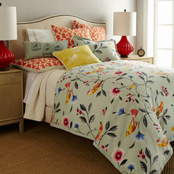 "French Laundry Home - French Laundry Home King Bird & Flowers Duvet Cover, 108"" x 98"" - Trellis-patterned accessories in orange make the brightly feathered birds on these bed linens pop. Made in the USA of cotton by French Laundry Home. Dry clean. Duvet covers have a mint-green background and solid-color flange trim. Gathered, orange tre..."