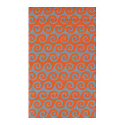 Surya - Surya Rain RAI-1138 (Pumpkin, Foggy Blue) 8' Round Rug - Rain or shine, these rugs look great outdoors! These hand hooked all weather rugs are manufactured to withstand the rigors of outdoor use. You don't need to worry about ruining your rug by spilling a drink or dropping food, just hose off and it's clean! The colors and designs we specially created to add to the outdoor ambiance.