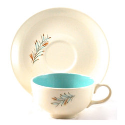 "Taylor Smith & Taylor - Vintage ""Fortune"" cup & saucer - Build your collection and delight your friends with pieces you actually use!  Mix and match, buy one or more. Vintage American pottery, Taylor, Smith & Taylor coffee or tea cup and saucer in the ""Fortune"" pattern.  Design is a wreath motif in aqua and rust. Saucer 6.25"" diameter.  Cup 3.75"" diameter, 2.25"" high.  Plus free gift with your order. ""Fortune"" was produced from approximately 1955-1960. The Taylor, Smith & Taylor Company (TS&T) was founded in 1900 in Chester, West Virginia, across the river from the established pottery town of East Liverpool, Ohio. At the Adonis Collection, we offer unique decor & gifts, free white-glove wrap, extras & eco-friendly practices. We include a research note on each work, so you can enjoy cataloging your collection and sharing your knowledge with friends, family and future generations!."