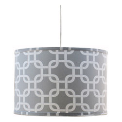 "Doodlefish - Links Grey Pendant Shade - Our modern Links fabric in Grey or Purple are perfect for the clean look of a hanging pendant shade. The light is 16""d by 13""tall. It comes with a sleek white pluggable cord that measures 18' in length. Our pendants are hand made in America and are UL Listed.   This pendant uses one 40 watt or less bulb that is not included."