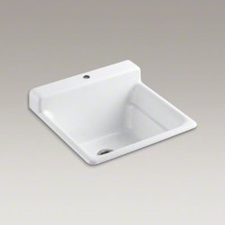 KOHLER - KOHLER Bayview(TM) top-mount utility sink with single faucet hole on top of back - The Bayview utility sink helps you take on the toughest tasks at home, be it in the utility room, kitchen, or garage. A generous 11-inch depth gives you plenty of room to work, and an integrated backsplash helps keep liquids where they belong. Crafted from enameled cast iron, this sink resists scratching, burning, and staining for years of beauty and reliable performance.