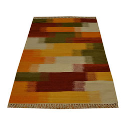 Durie Kilim Colorful Flat Weave 100% Wool 3'x5' Hand Woven Oriental Rug SH15799 - Soumaks & Kilims are prominent Flat Woven Rugs.  Flat Woven Rugs are made by weaving wool onto a foundation of cotton warps on the loom.  The unique trait about these thin rugs is that they're reversible.  Pillows and Blankets can be made from Soumas & Kilims.