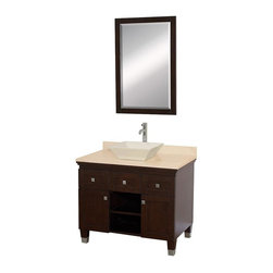 Wyndham Collection - 36 in. Eco-Friendly Floor Standing Bathroom Vanity - Includes natural stone counter, backsplash, one vessel sink and matching mirror. Faucets not included. Engineered to prevent warping and last a lifetime. Highly water-resistant low V.O.C. finish. 12 stage wood preparation, sanding, painting and finishing process. Deep doweled drawers. Fully extending bottom mount drawer slides. Soft close concealed door hinges. Single hole faucet mount. Plenty of storage space. Brushed steel leg accents. Metal hardware with brushed chrome finish. Two doors and two drawers. Ivory marble top. Bone porcelain sink. Made from zero emissions solid oak hardwood. Espresso finish. Vanity: 36 in. W x 22.5 in. D x 36 in. H. Mirror: 24.25 in. W x 36.25 in. HCutting edge, unique transitional styling. A bridge between traditional and modern design, and part of the Wyndham Collection Designer Series by Christopher Grubb, the Premiere Single Vanity is at home in almost every bathroom decor, resulting in a timeless piece of bathroom furniture.