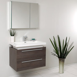 Fresca - Fresca Medio Gray Oak Modern Bathroom Vanity w/ Medicine Cabinet - Contemporary appeal and space-saving design unite in the Fresca Medio modern bathroom vanity, part # FVN8080GO. The clean lines and gray oak finish of this wall-mounted bathroom vanity with medicine cabinet combine with an integrated above-counter basin and chrome fittings to create a contemporary style. Two pullout drawers and a spacious mirrored medicine cabinet with double doors provide ample storage.