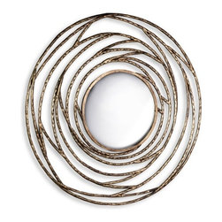Interlude - Cosmic Orbit Mirror - The frame of the Cosmic Orbit Mirror is made from hand hammered iron in an antique gold leaf finish.  It spirals inward toward the convex mirror center to create this sophisticated and stylish design.