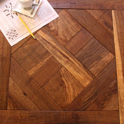 Confident Voyage, reclaimed white oak custom parquet wood floors - Allan Linder