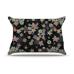 "Kess InHouse - Julia Grifol ""My Small Flowers"" Black Floral Pillow Case, King (36"" x 20"") - This pillowcase, is just as bunny soft as the Kess InHouse duvet. It's made of microfiber velvety fleece. This machine washable fleece pillow case is the perfect accent to any duvet. Be your Bed's Curator."