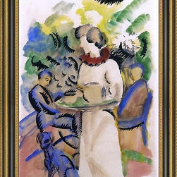 """Art MegaMart - August Macke Afternoon in the Garden - 16"""" x 24"""" Framed Premium Canvas Print - 16"""" x 24"""" August Macke Afternoon in the Garden framed premium canvas print reproduced to meet museum quality standards. Our Museum quality canvas prints are produced using high-precision print technology for a more accurate reproduction printed on high quality canvas with fade-resistant, archival inks. Our progressive business model allows us to offer works of art to you at the best wholesale pricing, significantly less than art gallery prices, affordable to all. This artwork is hand stretched onto wooden stretcher bars, then mounted into our 3 3/4"""" wide gold finish frame with black panel by one of our expert framers. Our framed canvas print comes with hardware, ready to hang on your wall.  We present a comprehensive collection of exceptional canvas art reproductions by August Macke."""