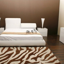 "Casabianca Furniture - Jessie Platform Bed - Features: -Material: Leather/PVC. -Headboard that can go up or down to find the perfect comfort for your back. -Chrome on the footboard and sideboards to give a modern look. -Includes wooden slats. -Overall Dimensions: 45.5"" H x 83"" W x 94"" D."
